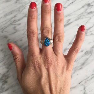 Vintage sterling Silver Blue Tones Ring
